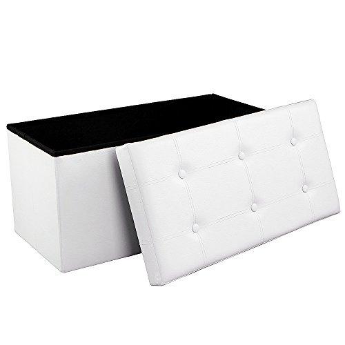 SONGMICS Faltbare Sitzbank, Sitztruhe mit 80 L Stauraum, bis 300 kg belastbar, Kunstleder, Weiß LSF106